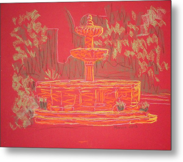 Orange Fountain Metal Print by Marcia Meade