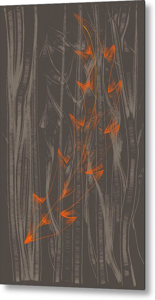 Orange Leaf Metal Print by Lori Ulatowski