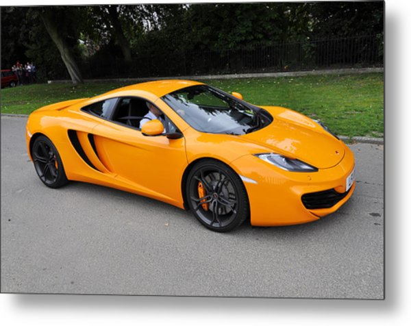 Orange Mclaren Mp4-12c Metal Print