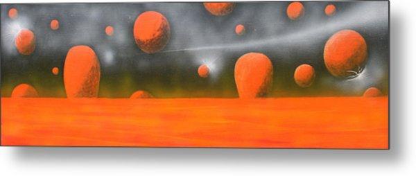 Orange Planet Metal Print