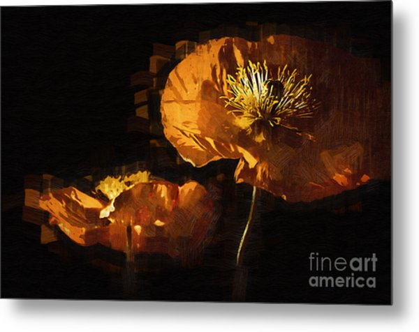 Orange Poppies Two Metal Print