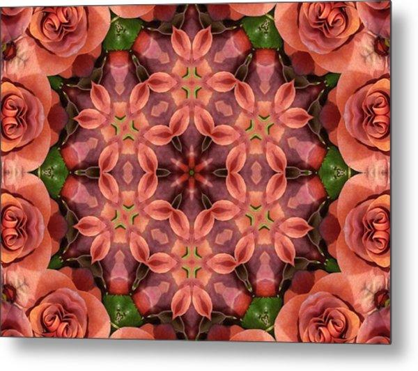Orange Rose Mandala Metal Print