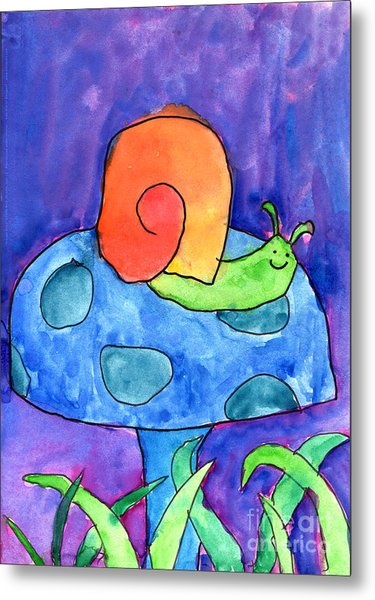 Orange Snail Metal Print