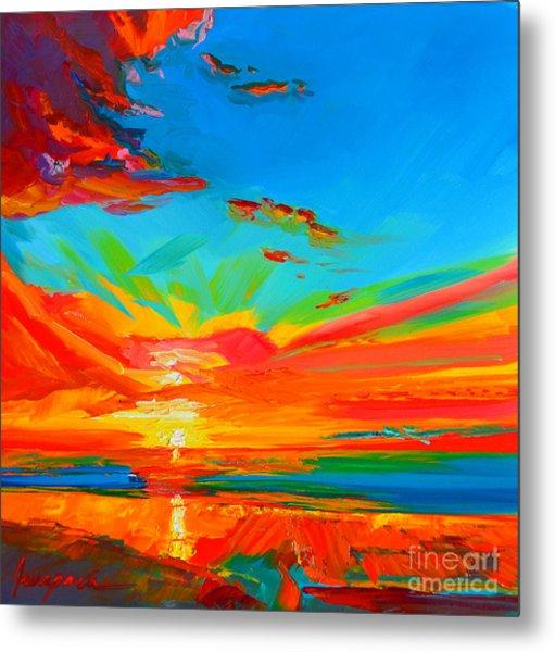 Orange Sunset Landscape Metal Print