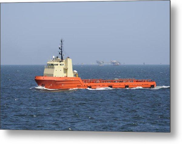 Orange Supply Vessel Underway Metal Print