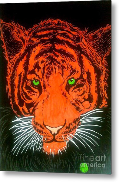 Orange Tiger Metal Print