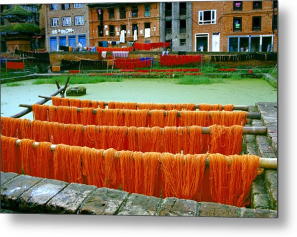 Orange Yarn Metal Print