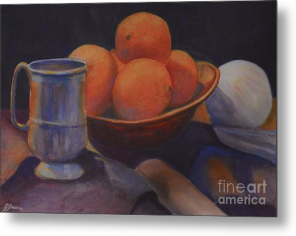 Metal Print featuring the painting Oranges by Genevieve Brown