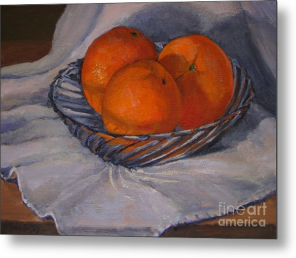 Oranges In A Swirly Bowl Metal Print
