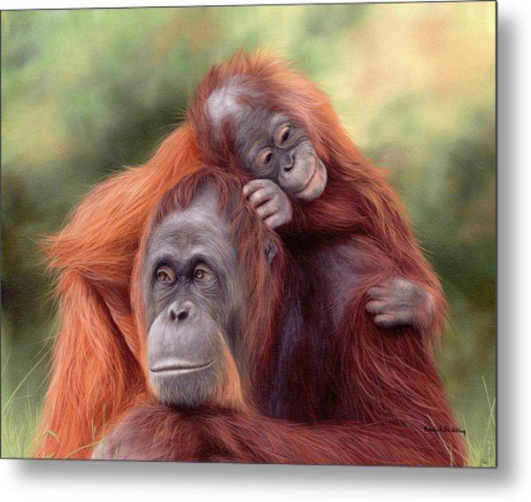 Orangutans Painting Metal Print