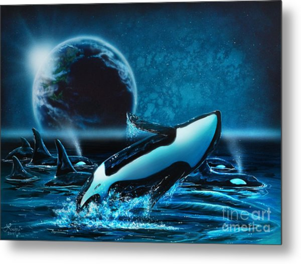 Orcas At Night Metal Print