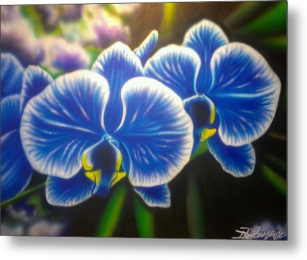 Orchid-strated Blues Metal Print