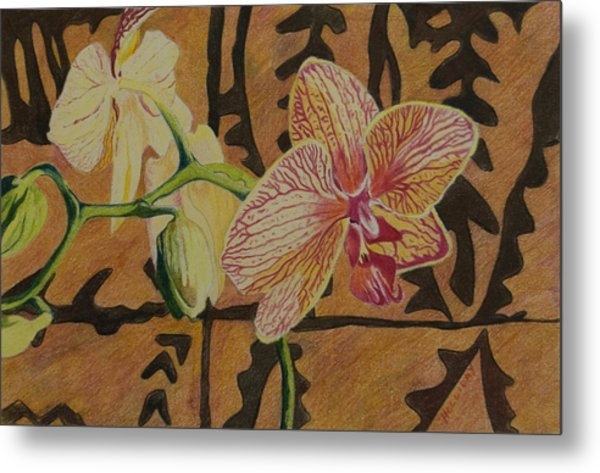 Orchid With Tapa Metal Print