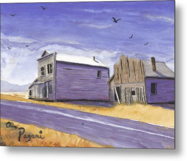 Oregon Ghost Town Watercolor Metal Print