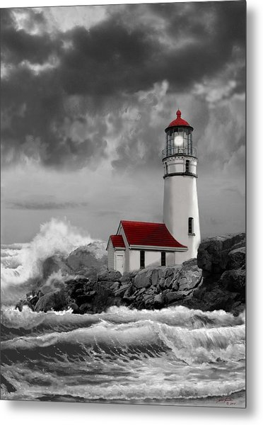 Oregon Lighthouse Cape Blanco In Black White And Red Metal Print