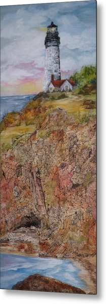 Oregon Lighthouse With Over 200 Hide And Seek Marine Life Objects Metal Print