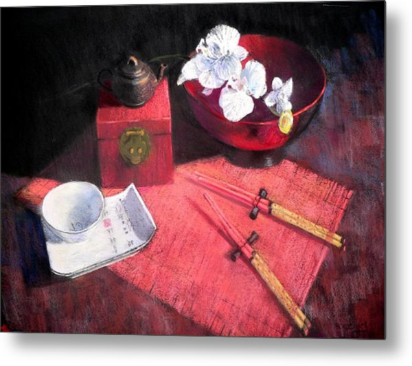 Oriental Still Life Metal Print by Jackie Simmonds