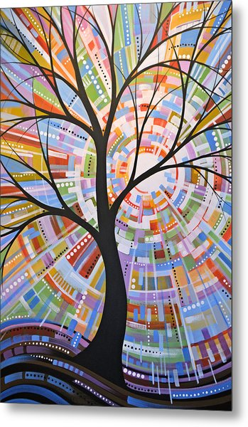 Original Abstract Tree Landscape Painting ... Here Comes The Sun Metal Print