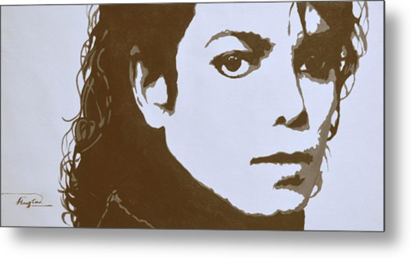 original black an white acrylic paint art- portrait of Michael Jackson#16-2-4-12 Metal Print