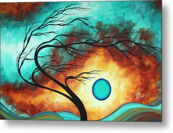 Original Bold Colorful Abstract Landscape Painting Family Joy I By Madart Metal Print