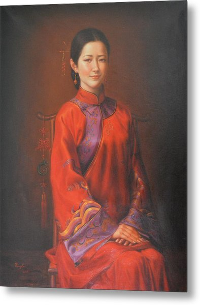 Original Classic Portrait Oil Painting Woman Art - Beautiful Chinese Bride Girl Metal Print