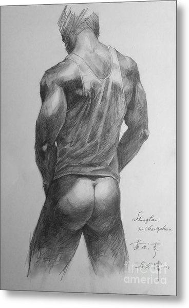 Original Man Gay Pencil Drawing Sketch Art On Peper By Hongtao Metal Print