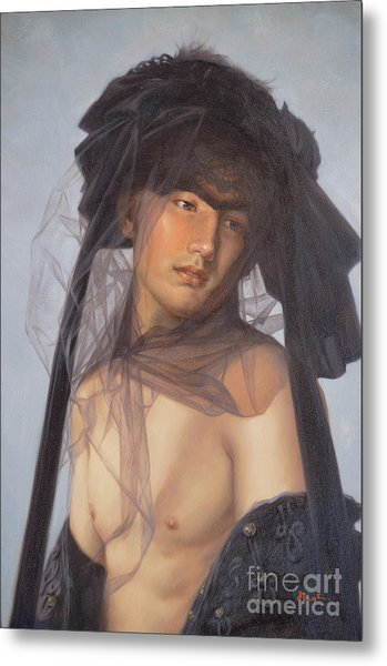 Original Oil Painting  Man Body Art-  Male Nude-053 Metal Print
