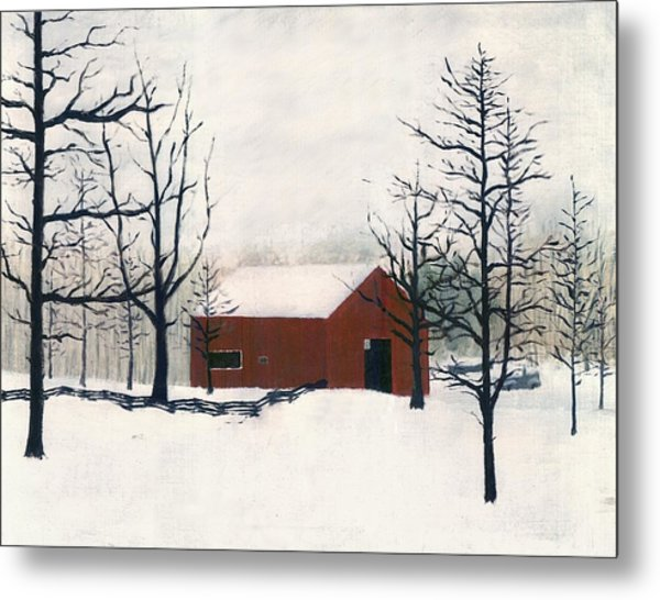 Original Painting Red Barn Snow Maryland Metal Print