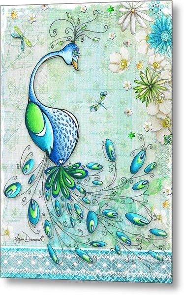Original Peacock Painting Bird Art By Megan Duncanson Metal Print
