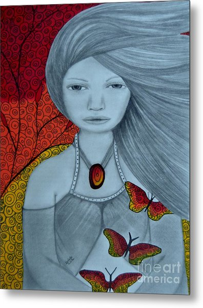 Original Pencil Drawing Art The Wind Of The Spirit 2 By Saribelle Rodriguez Metal Print
