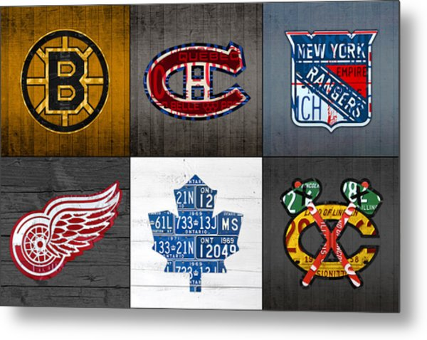 Original Six Hockey Team Retro Logo Vintage Recycled License Plate Art Metal Print
