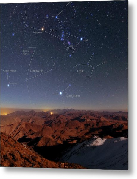 Orion And Sirius Over Iran Metal Print by Babak Tafreshi/science Photo Library