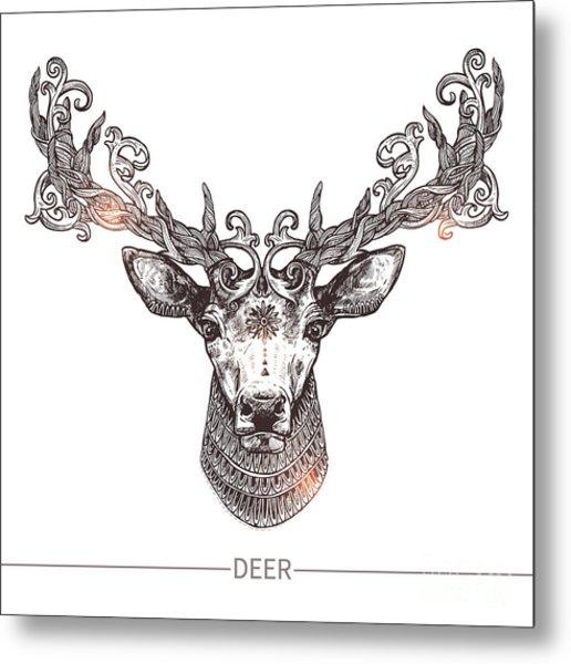 Ornamental Tattoo Deer Head. Highly Metal Print