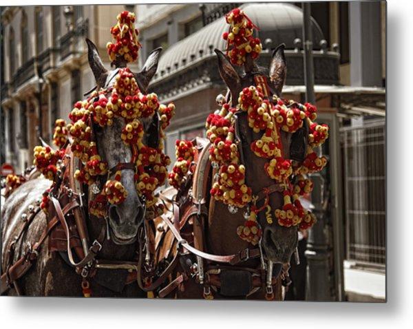 Ornamented Horses Metal Print