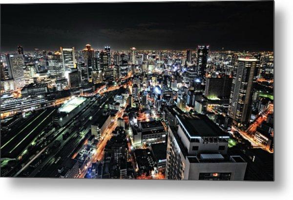Osaka Night View Metal Print by Hiroaki Koga