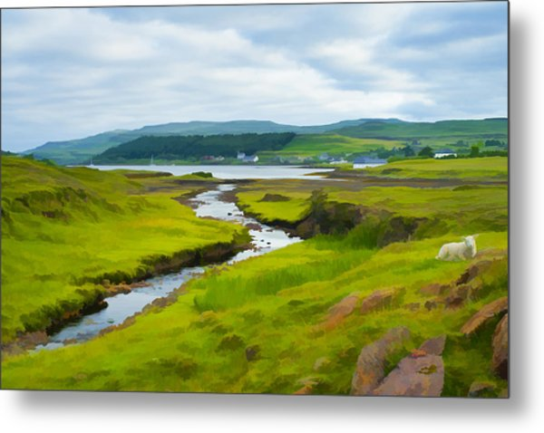 Osdale River Leading Into Loch Dunvegan In Scotland Metal Print