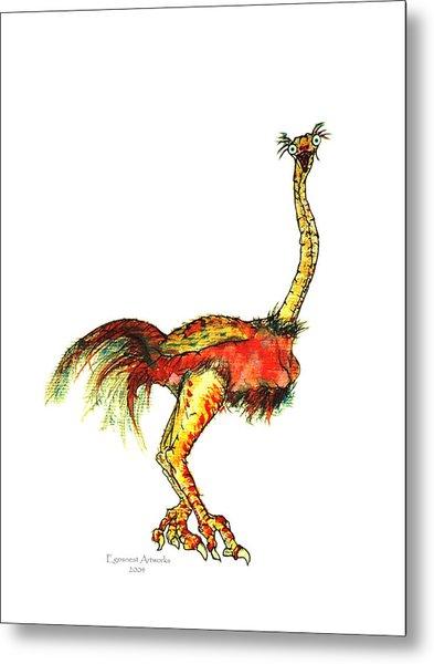 Ostrich Card No Wording Metal Print