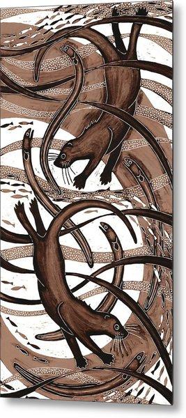 Otter With Eel, 2013 Woodcut Metal Print
