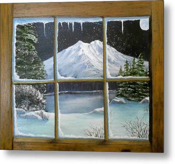 Out My Window-bright Winter's Night Metal Print
