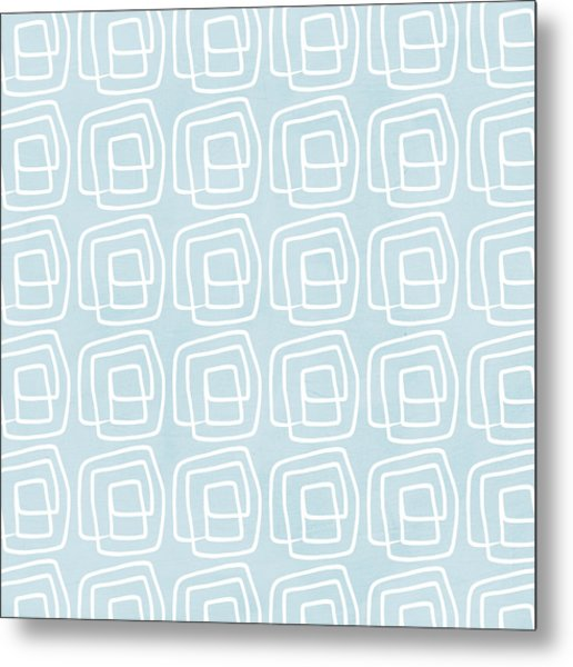 Out Of The Box Blue And White Pattern Metal Print