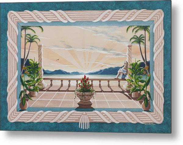 Out On The Veranda Metal Print by Nickie Bradley