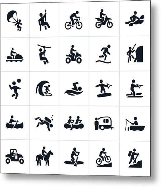 Outdoor Summer Recreation Icons Metal Print by Appleuzr