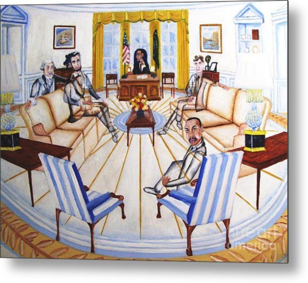 Oval Office Ghost With President Obama  Metal Print by Kenneth Michur