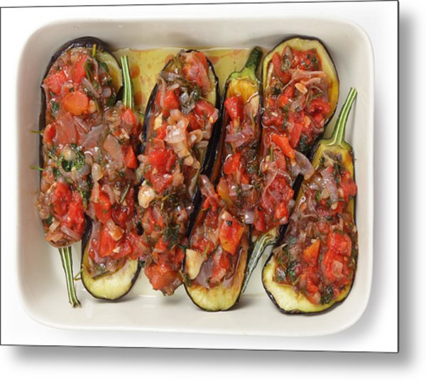 Oven Ready Stuffed Aubergines Metal Print