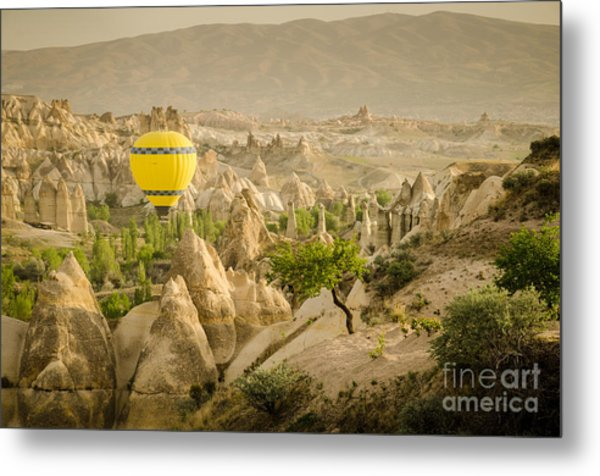 Balloon Over White Valley - Cappadocia Turkey Metal Print by OUAP Photography