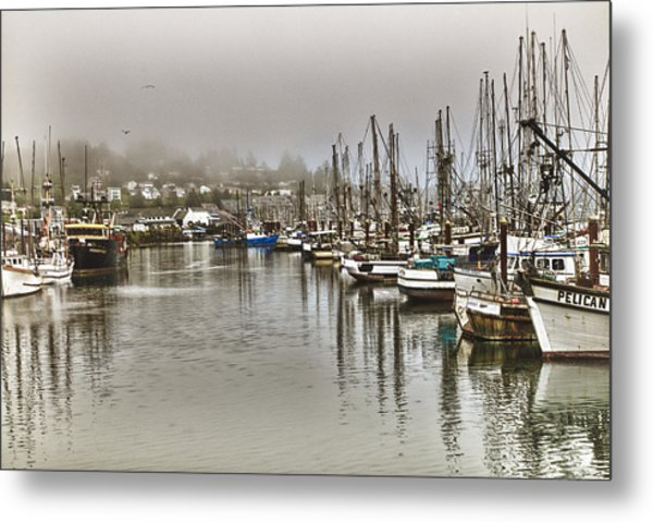 Overcast Harbour Metal Print