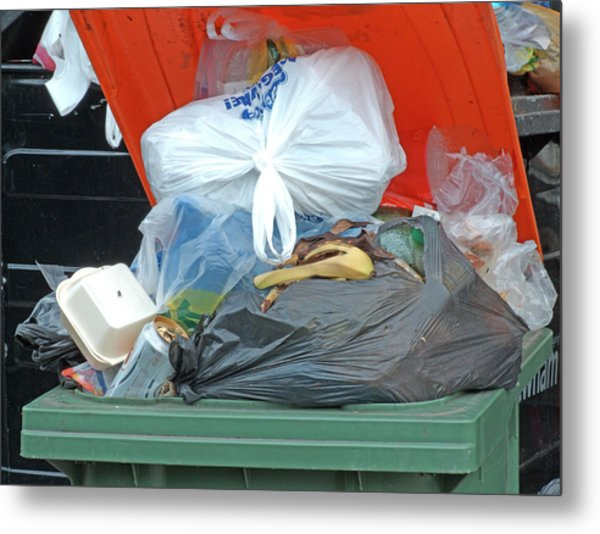 Overflowing Rubbish Bin Metal Print