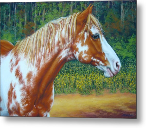 Overo Paint Horse-colorful Warrior Metal Print