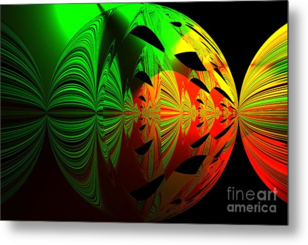 Art. Unigue Design.  Abstract Green Red And Black Metal Print