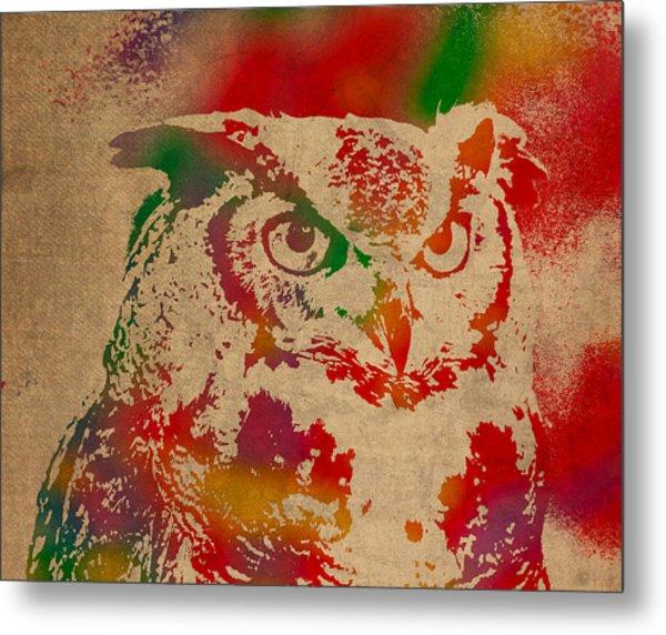 Owl Animal Watercolor Portrait On Worn Canvas Metal Print